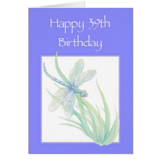 Happy 39th Birthday Watercolor Dragonfly Nature Card