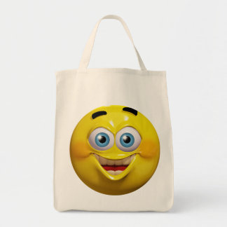 Happy 3d emoticon budget tote