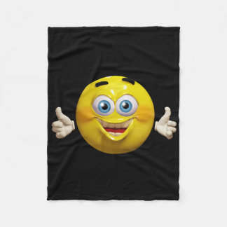 Happy 3d emoticon fleece blanket