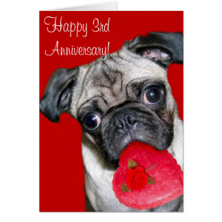 Happy 3rd Anniversary pug greeting card