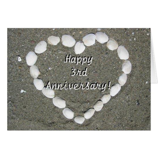 Happy 3rd Anniversary Seashell heart greeting card