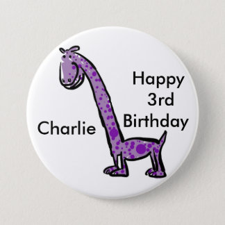 Happy 3rd birthday cartoon (name) dinosaur purple 7.5 cm round badge