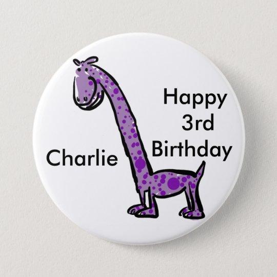 Happy 3rd birthday cartoon (name) dinosaur purple 7.5