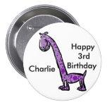 Happy 3rd birthday cartoon (name) dinosaur purple 7.5 cm round badge