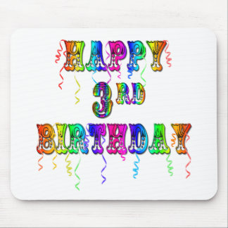 Happy 3rd Birthday Circus Font - Personalize it Mouse Pad