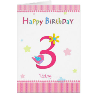 Happy 3rd birthday girl card
