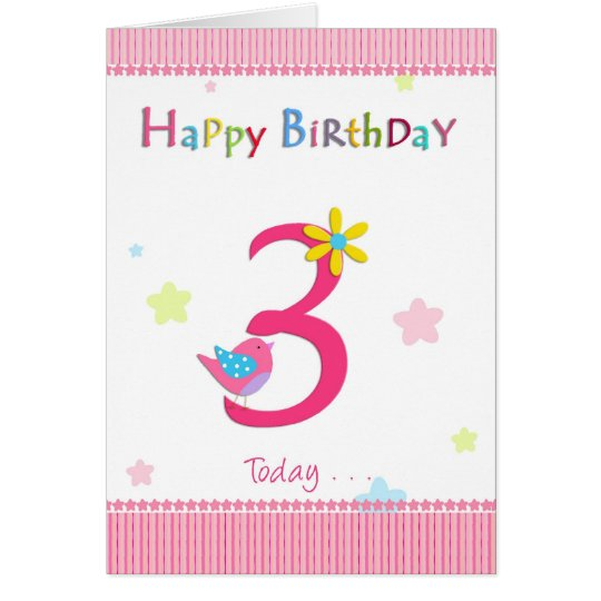 Happy 3rd birthday girl card