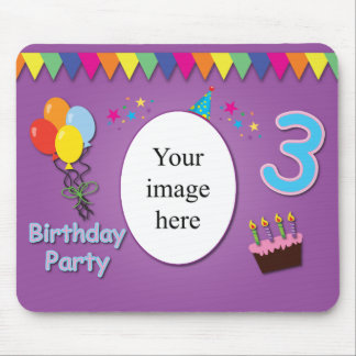 Happy 3rd Birthday Mousepad with Your Photo