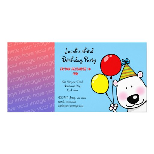Happy 3rd birthday party invitations photo card template