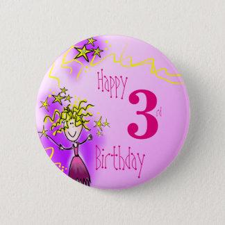 Happy 3rd birthday pink fairy badge