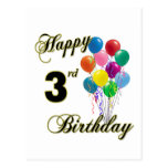 Happy 3rd Birthday Post Cards and Birthday Cards