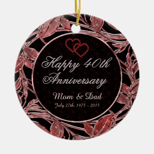 Happy 40th Anniversary Ruby Leaves DBL Sided Christmas