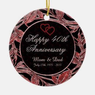 Happy 40th Anniversary Ruby Leaves DBL Sided Round Ceramic Decoration