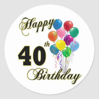 Happy 40th Birthday Gifts and Birthday Apparel Classic Round Sticker