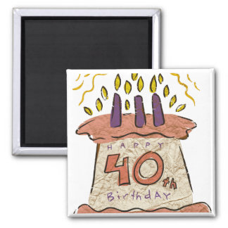 Happy 40th Birthday Gifts Square Magnet