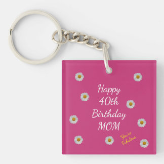 Happy 40th Birthday Mom Key Ring