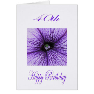 Happy 40th Birthday purple Blossom Card