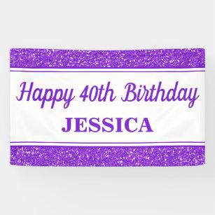 Happy 40th Birthday Purple Glitter Banner