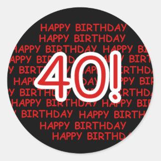 Happy 40th Birthday Round Sticker