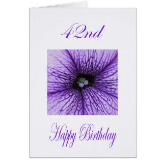 Happy 42nd Birthday purple Blossom Greeting Card