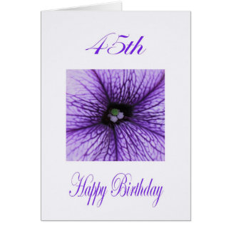 Happy 45th Birthday purple Blossom Card