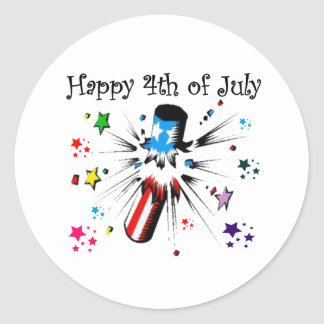 Happy 4th 0f July Round Stickers