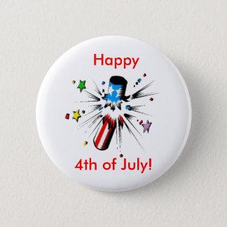 Happy 4th 6 cm round badge