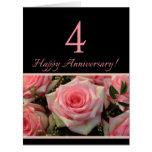 Happy 4th Anniversary roses Big Greeting Card