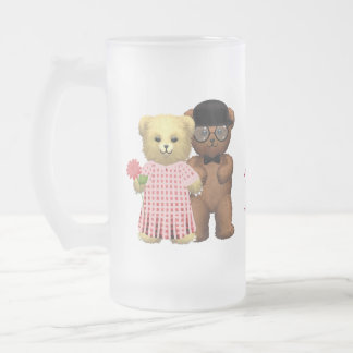 Happy 4th Anniversary Teddy Bears Glass Frosted Glass Beer Mug