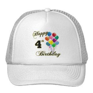 Happy 4th Birthday Baseball Caps and Hats Trucker Hat