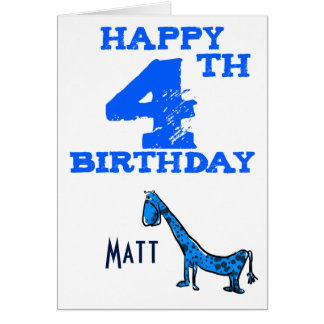 Happy 4th birthday cartoon dinosaur - boys card