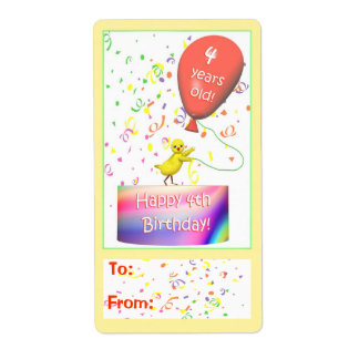 Happy 4th Birthday Chicken Gift Tag Shipping Label