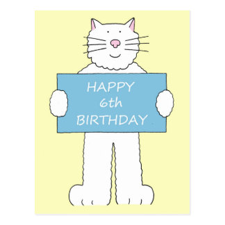 Happy 4th Birthday, fluffy white cat. Postcard
