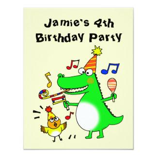 Happy 4th Birthday ( I am 4 ) 11 Cm X 14 Cm Invitation Card