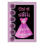 Happy 4th Birthday Princess - Pink Dress & Candles