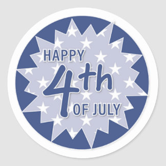 Happy 4th, Blue Classic Round Sticker