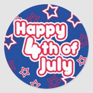 Happy 4th July Classic Round Sticker