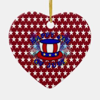 Happy 4th July Crackers Ceramic Heart Decoration