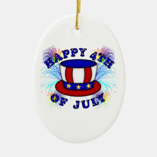 Happy 4th July Crackers Ceramic Oval Decoration