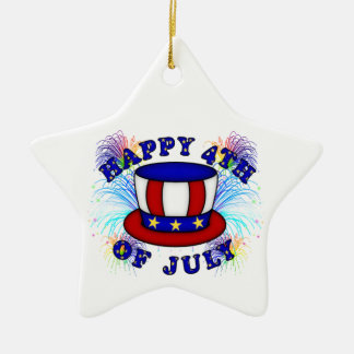 Happy 4th July Crackers Double-Sided Star Ceramic Christmas Ornament