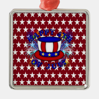 Happy 4th July Crackers Square Metal Christmas Ornament
