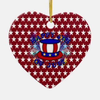 Happy 4th July Crackers Double-Sided Heart Ceramic Christmas Ornament