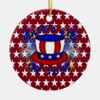 Happy 4th July Crackers Double-Sided Ceramic Round Christmas Ornament