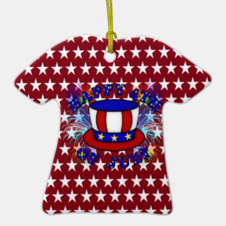 Happy 4th July Crackers Double-Sided T-Shirt Ceramic Christmas Ornament