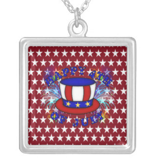 Happy 4th July Crackers Square Pendant Necklace