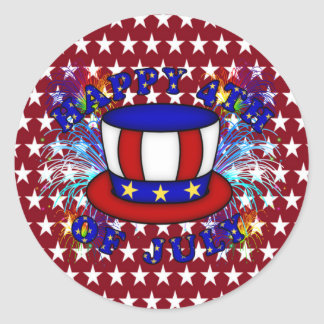 Happy 4th July Crackers Classic Round Sticker