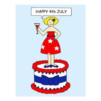 Happy 4th July Lady on Cake Postcard