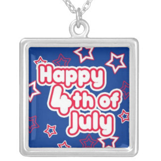 Happy 4th July Square Pendant Necklace