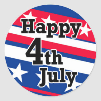 Happy 4th July on Patriotic Stars and Stripes Classic Round Sticker