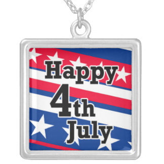 Happy 4th July on Patriotic Stars and Stripes Necklace